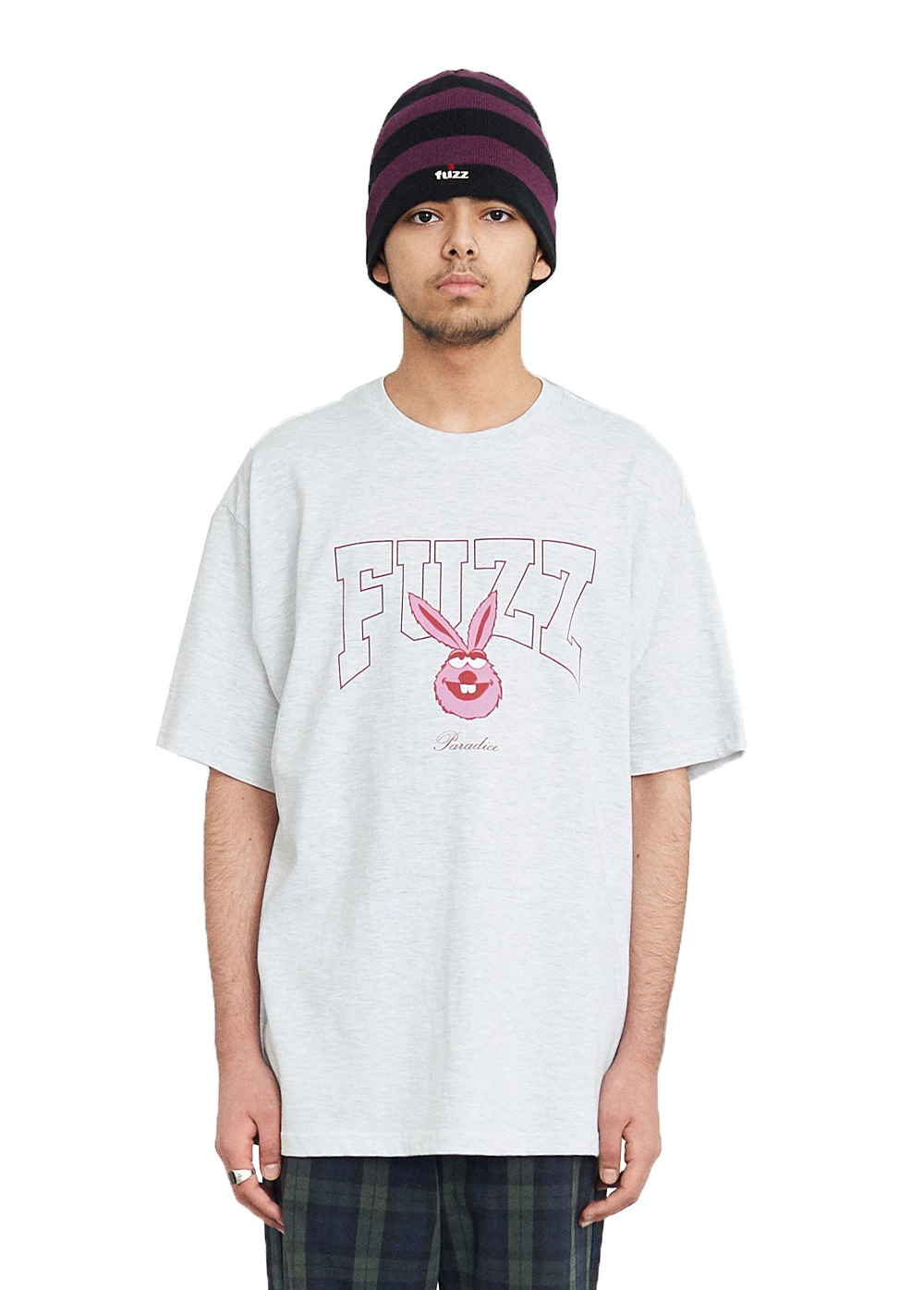FUZZ COLLEGE ARCH BUNNY S/S TEE light gray