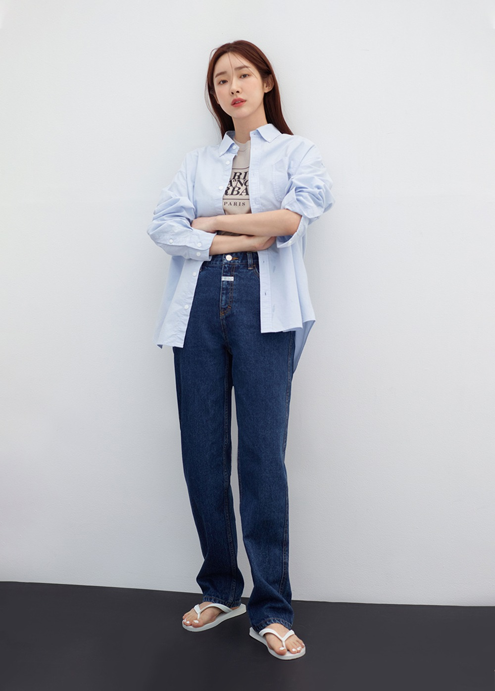 MARITHE X 차정원 W ROLL UP STRAIGHT DENIM dark blue