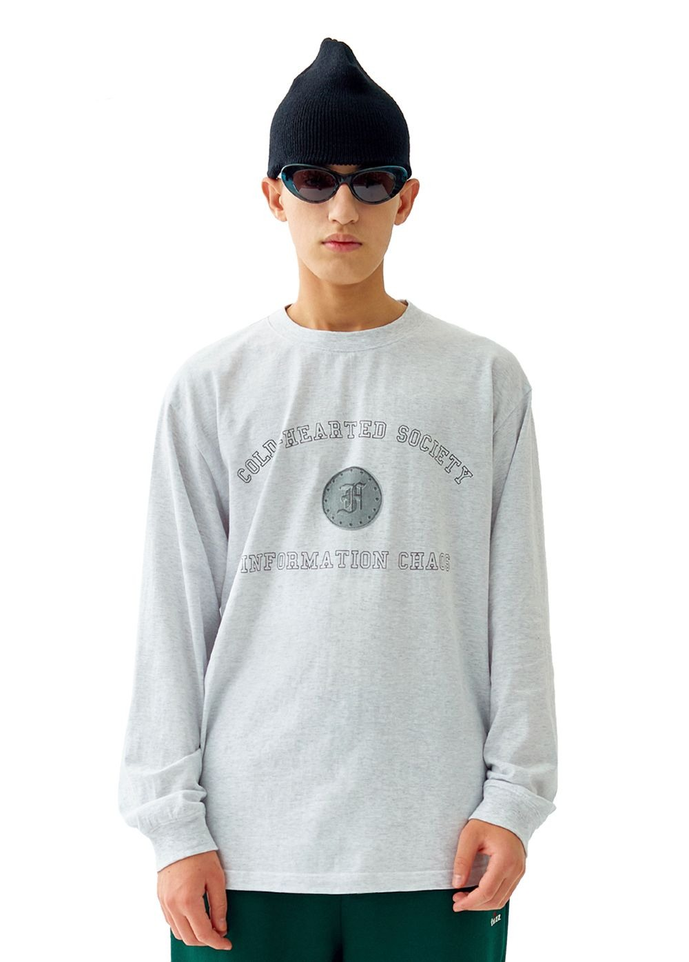 FUZZ ARCH L/S TEE lt. heather gray