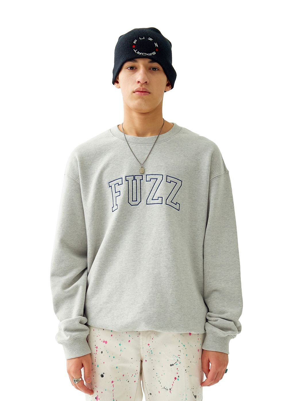 FUZZ COLLEGE ARCH LOGO SWEATSHIRT heather gray