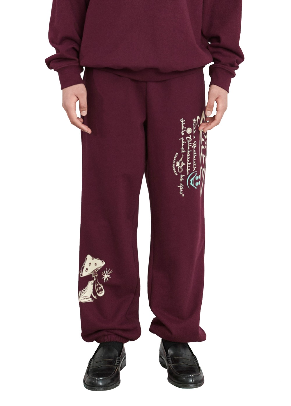 FUZZ X RAREBIRTH ASSALAMU ALAYKUM SWEATPANTS burgundy