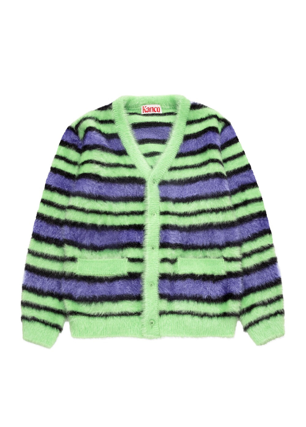 KANCO STRIPE CARDIGAN green/purple blue